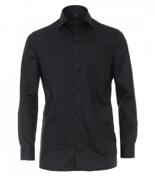 CASAMODA Hemd COMFORT FIT TWILL schwarz mit Kent Kragen in klassischer Schnittform