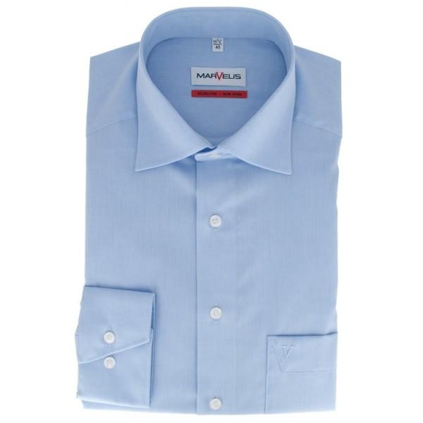 Marvelis COMFORT FIT Hemd CHAMBRAY hellblau mit New Kent Kragen in klassischer Schnittform