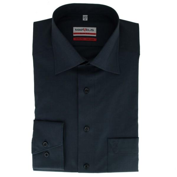 Marvelis MODERN FIT Hemd CHAMBRAY anthrazit mit New Kent Kragen in moderner Schnittform