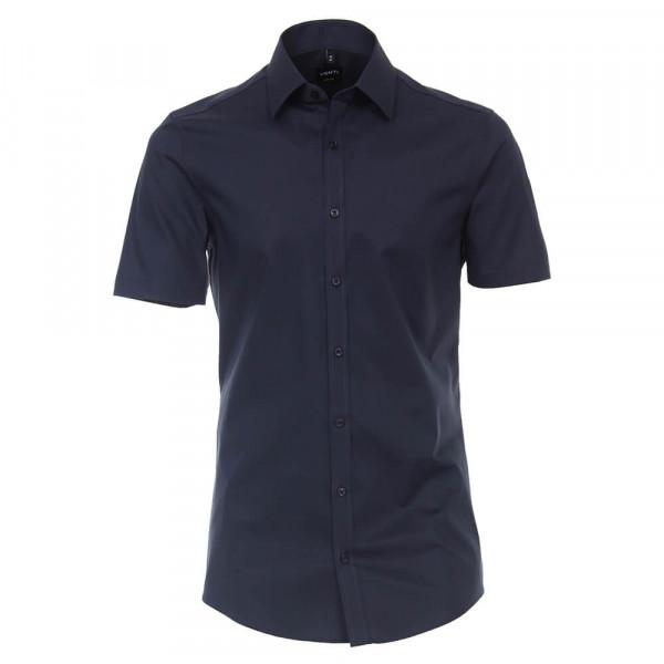 Venti Hemd BODY FIT UNI POPELINE dunkelblau mit Kent Kragen in schmaler Schnittform