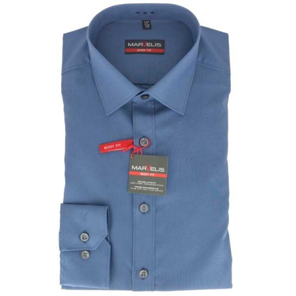 Marvelis BODY FIT Hemd UNI POPELINE mittelblau mit New York Kent Kragen in schmaler Schnittform