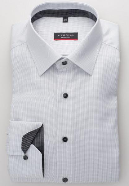 Eterna Hemd MODERN FIT TWILL STREIFEN grau mit Modern Kent Kragen in moderner Schnittform