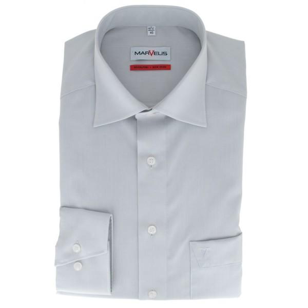 Marvelis COMFORT FIT Hemd CHAMBRAY grau mit New Kent Kragen in klassischer Schnittform