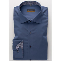 Eterna Hemd SLIM FIT UNI STRETCH dunkelblau mit Classic Kent Kragen in schmaler Schnittform