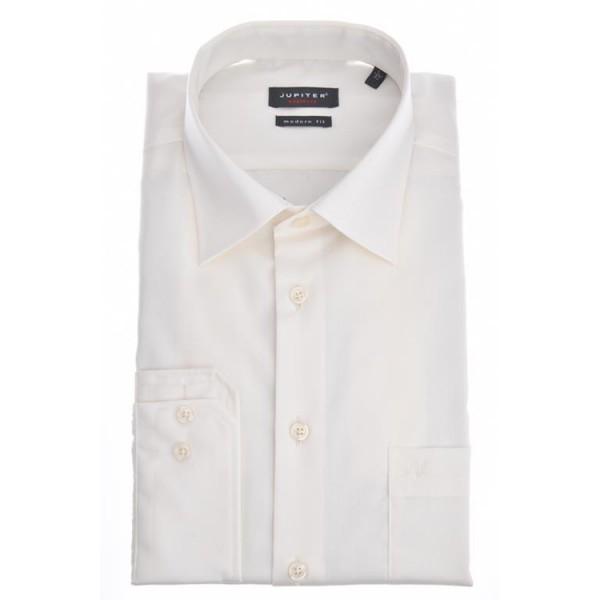 Jupiter Hemd COMFORT FIT UNI POPELINE beige mit Kent Kragen in klassischer Schnittform