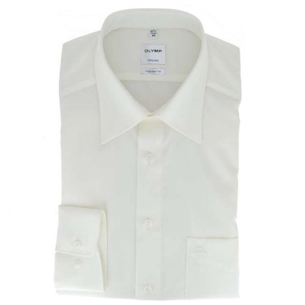 OLYMP Luxor modern fit Hemd UNI POPELINE beige mit Kent Kragen in moderner Schnittform