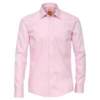 Redmond MODERN FIT Hemd UNI POPELINE rosa mit Kent Kragen in moderner Schnittform