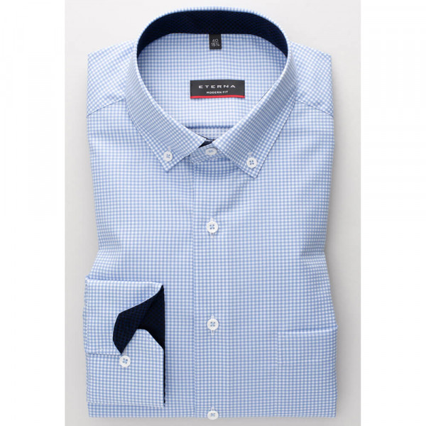 Eterna Hemd MODERN FIT TWILL KARO hellblau mit Button Down Kragen in moderner Schnittform