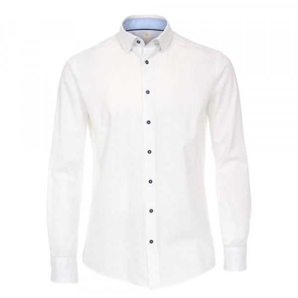 Redmond Hemd MODERN FIT UNI STRETCH weiss mit Button Down Kragen in moderner Schnittform