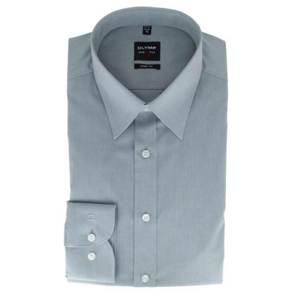 OLYMP Level Five body fit Hemd CHAMBRAY grau mit New York Kent Kragen in schmaler Schnittform