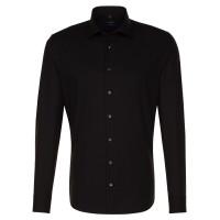 Seidensticker SHAPED Hemd UNI POPELINE schwarz mit Business Kent Kragen in moderner Schnittform