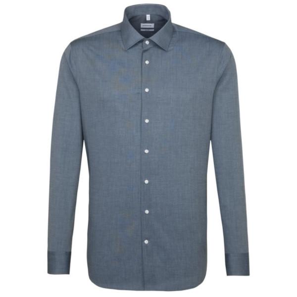 Seidensticker SHAPED Hemd FIL Á FIL dunkelblau mit Business Kent Kragen in moderner Schnittform