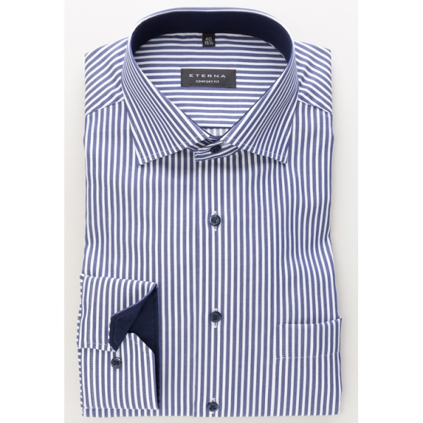 Eterna Hemd COMFORT FIT TWILL STREIFEN dunkelblau mit Classic Kent Kragen in klassischer Schnittform