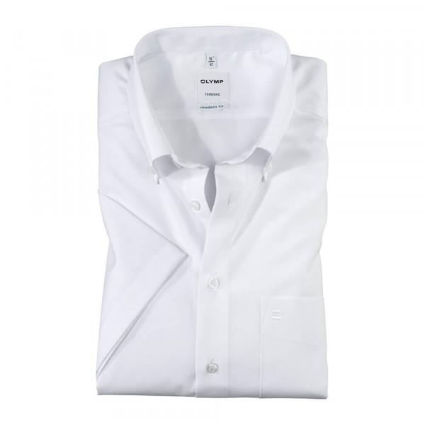 OLYMP Tendenz modern fit Hemd UNI POPELINE weiss mit Button Down Kragen in moderner Schnittform