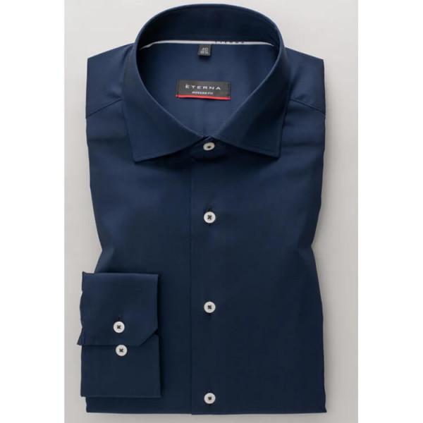 Eterna Hemd MODERN FIT UNI STRETCH dunkelblau mit Classic Kent Kragen in moderner Schnittform