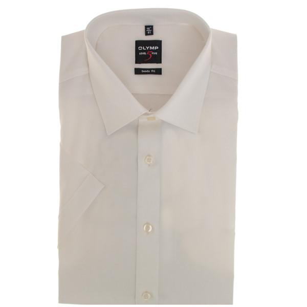 OLYMP Level Five body fit Hemd UNI POPELINE beige mit New York Kent Kragen in schmaler Schnittform
