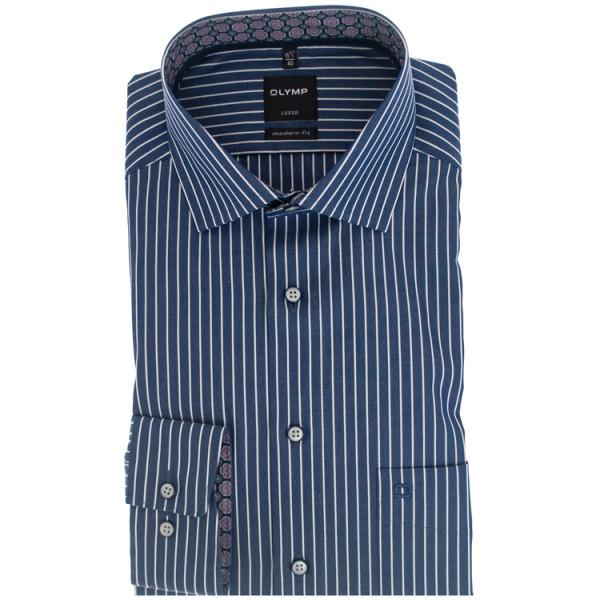 OLYMP Luxor modern fit Hemd TWILL STREIFEN dunkelblau mit Global Kent Kragen in moderner Schnittform