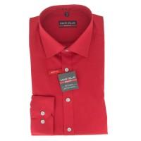 Marvelis BODY FIT Hemd UNI POPELINE rot mit New York Kent Kragen in schmaler Schnittform