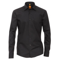 Redmond Hemd MODERN FIT UNI POPELINE schwarz mit Kent Kragen in moderner Schnittform