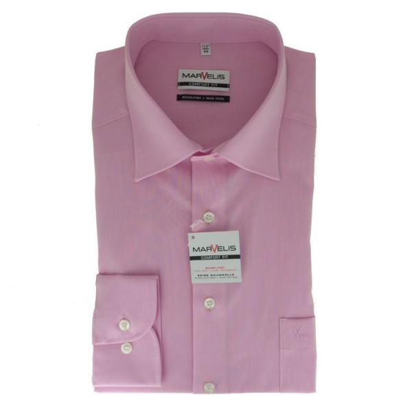 Marvelis COMFORT FIT Hemd CHAMBRAY rosa mit New Kent Kragen in klassischer Schnittform