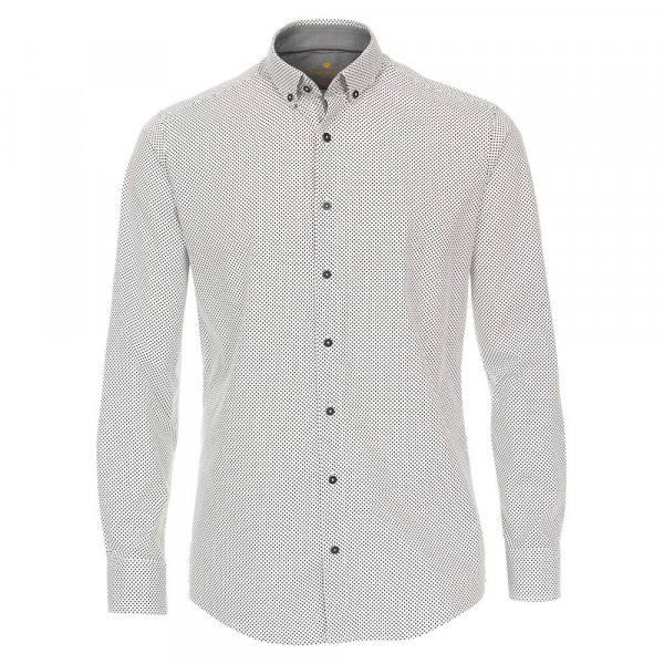 Redmond Hemd MODERN FIT UNI STRETCH weiss mit Button Down Kragen in moderner Schnittform