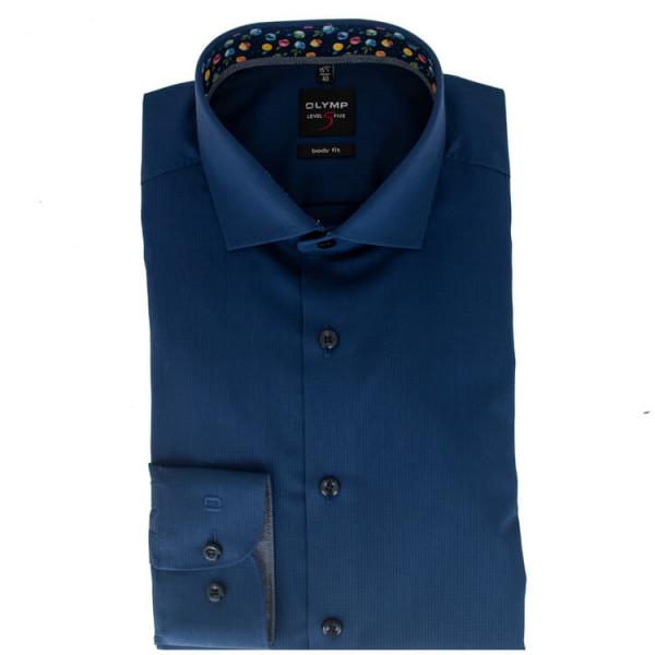 OLYMP Level Five body fit Hemd STRUKTUR dunkelblau mit Global Kent Kragen in schmaler Schnittform