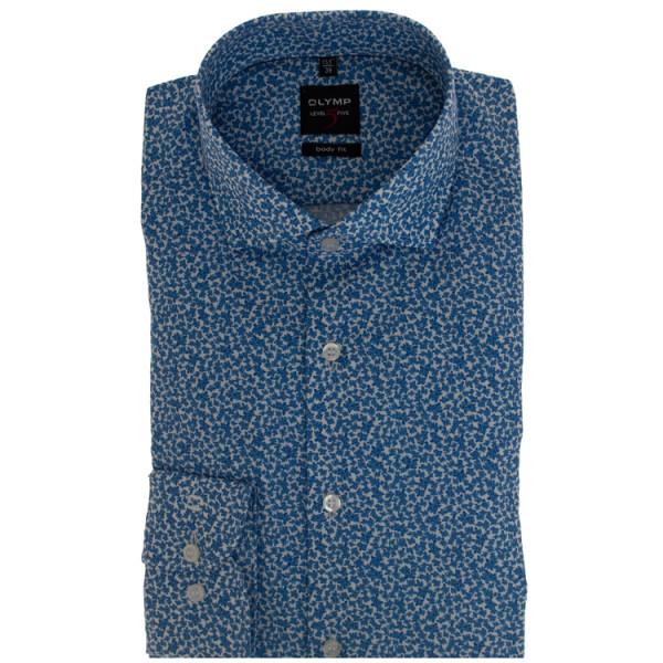 OLYMP Level Five body fit Hemd PRINT hellblau mit Royal Kent Kragen in schmaler Schnittform