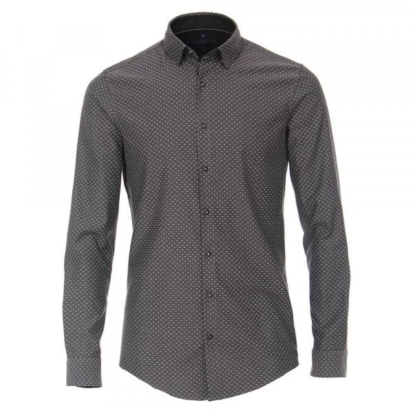 Redmond SLIM FIT Hemd PRINT schwarz mit Kent Kragen in schmaler Schnittform