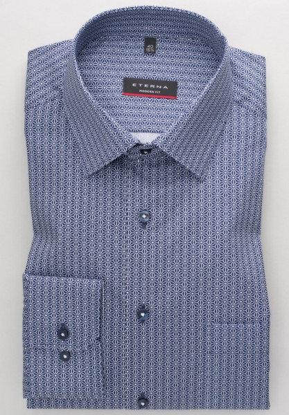Eterna Hemd MODERN FIT PRINT dunkelblau mit Modern Kent Kragen in moderner Schnittform