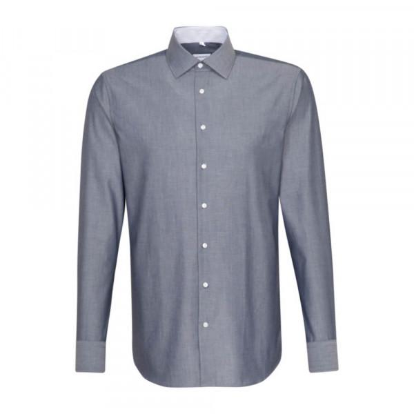 Seidensticker Hemd SLIM FIT CHAMBRAY dunkelblau mit Business Kent Kragen in schmaler Schnittform