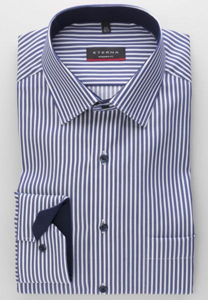 Eterna Hemd MODERN FIT TWILL STREIFEN dunkelblau mit Modern Kent Kragen in moderner Schnittform