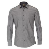 Redmond MODERN FIT Hemd UNI POPELINE grau mit Kent Kragen in moderner Schnittform