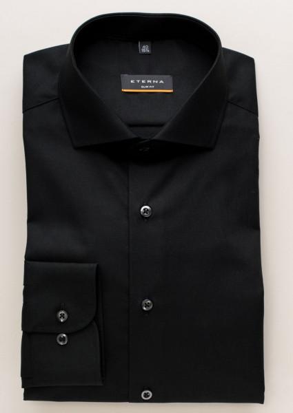 Eterna Hemd SLIM FIT UNI POPELINE schwarz mit Hai Kragen in schmaler Schnittform