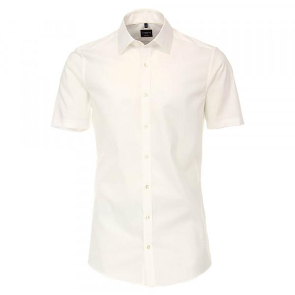 Venti Hemd BODY FIT UNI POPELINE beige mit Kent Kragen in schmaler Schnittform
