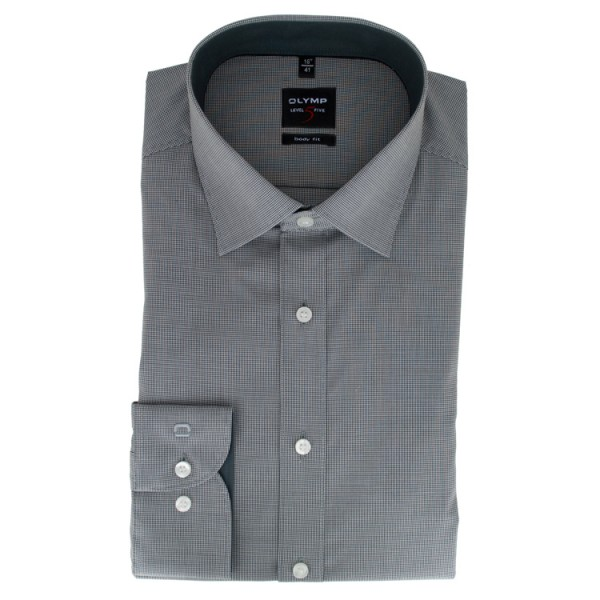OLYMP Level Five body fit Hemd FAUX UNI schwarz mit New York Kent Kragen in schmaler Schnittform