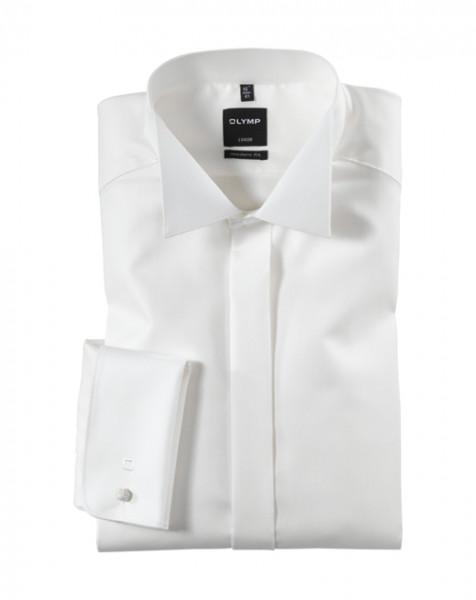 OLYMP Luxor soirée modern fit Hemd FAUX UNI beige mit Kläppchen Kragen in moderner Schnittform