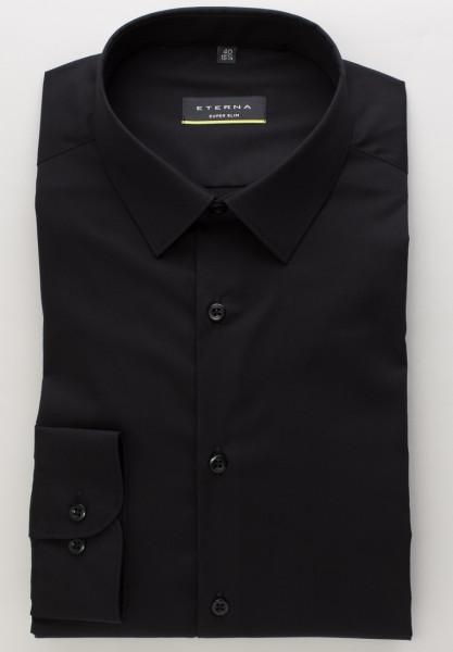 Eterna Hemd SUPER SLIM UNI STRETCH schwarz mit Mini Kent Kragen in super schmaler Schnittform