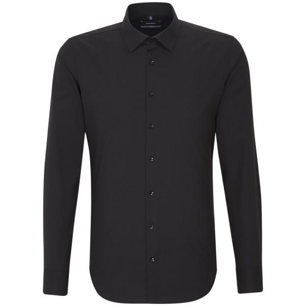 Seidensticker X-SLIM Hemd UNI POPELINE schwarz mit Business Kent Kragen in super schmaler Schnittform