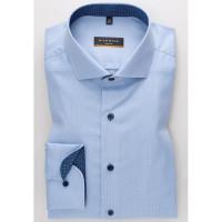 Eterna Hemd SLIM FIT TWILL STRUKTUR hellblau mit Hai Kragen in schmaler Schnittform